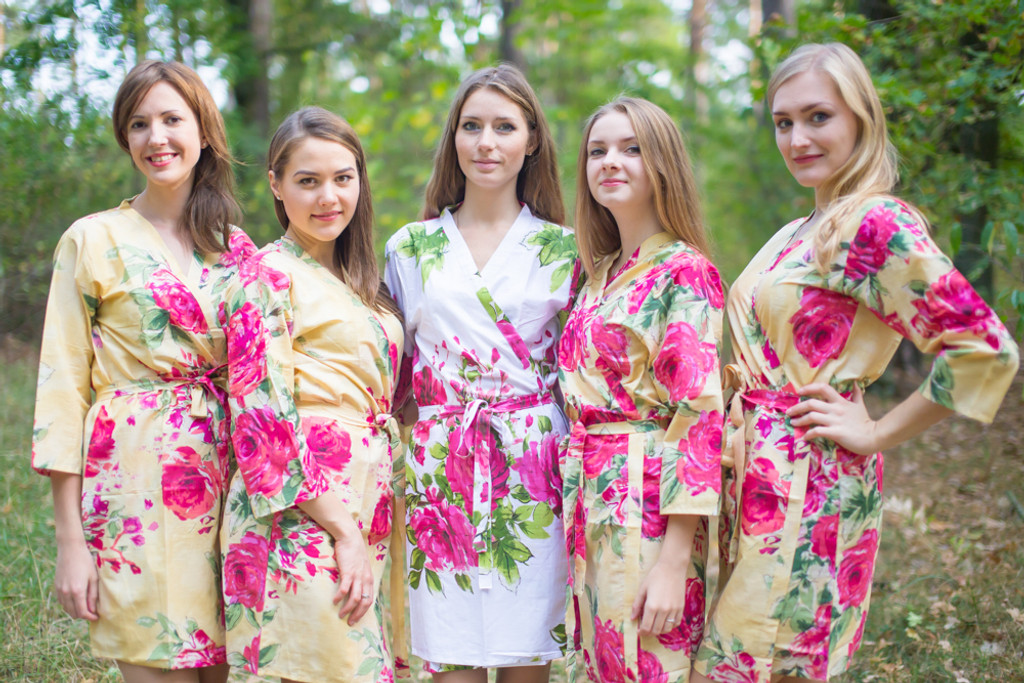 Light Yellow Large Fuchsia Floral Blossoms Robes for bridesmaids | Getting Ready Bridal Robes