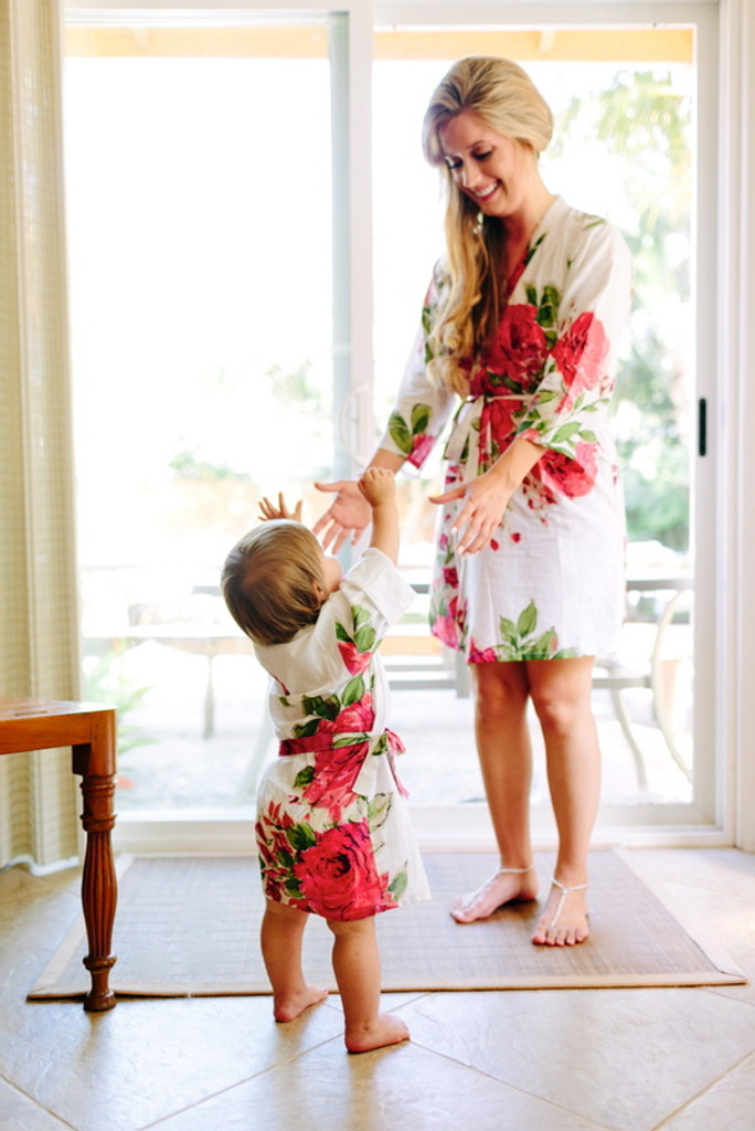 White Large Fuchsia Floral Blossoms Robes for bridesmaids | Getting Ready Bridal Robes