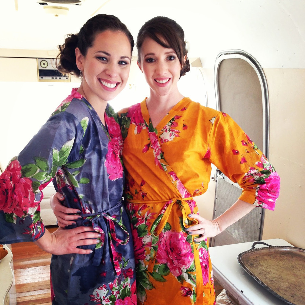 Yellow Large Fuchsia Floral Blossoms Robes for bridesmaids | Getting Ready Bridal Robes