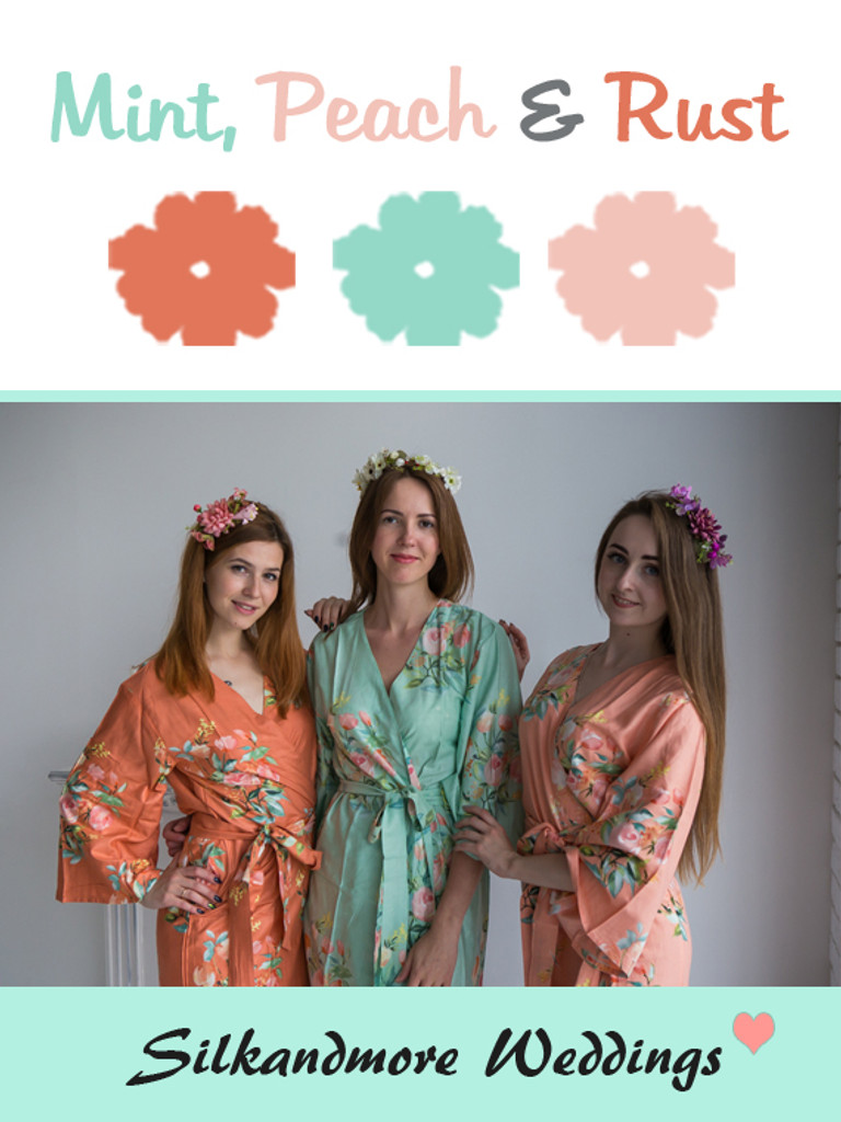 Mint, Peach and Rust Color Robes - Premium Rayon Collection
