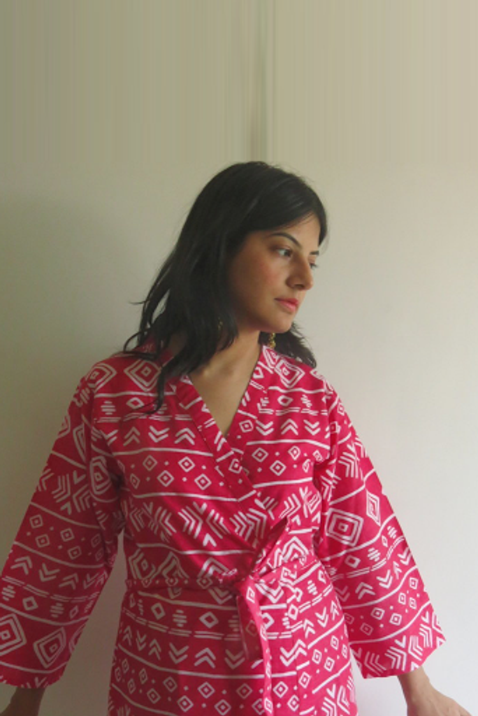 Red Tribal Aztec Robes for bridesmaids   Getting Ready Bridal Robes