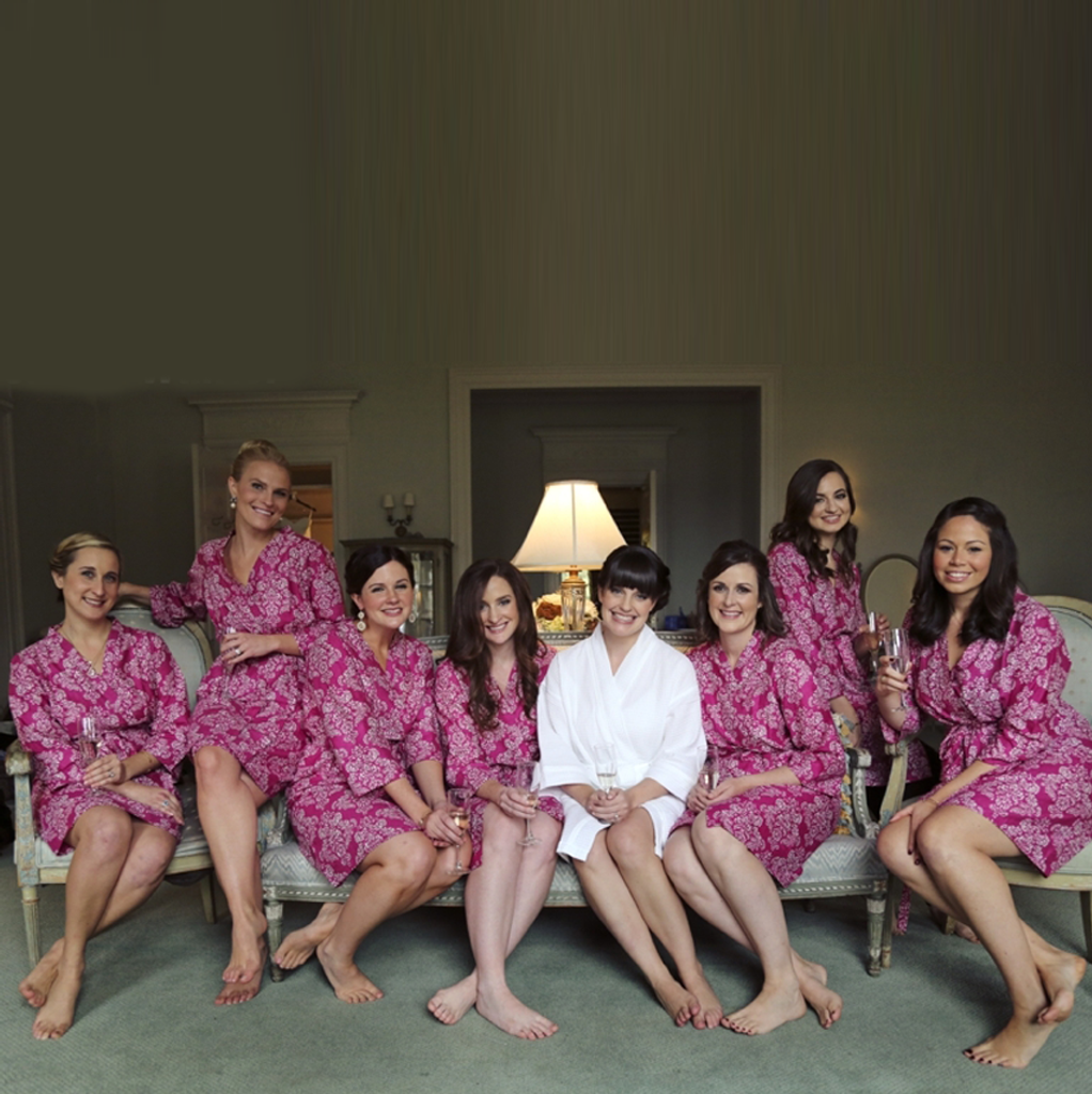 Magenta Damask Robes for bridesmaids | Getting Ready Bridal Robes