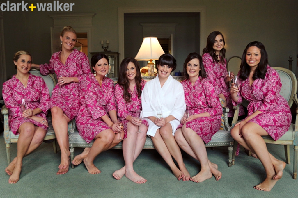 Magenta Damask Robes for bridesmaids | Getting Ready Bridal Robes