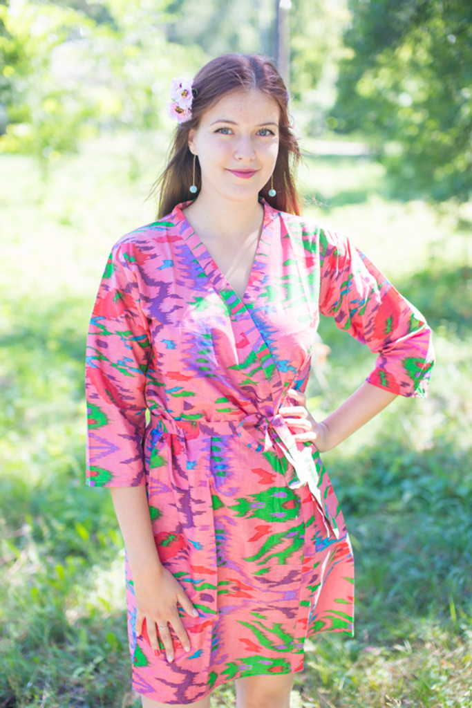 Coral Ikat Aztec Robes for bridesmaids