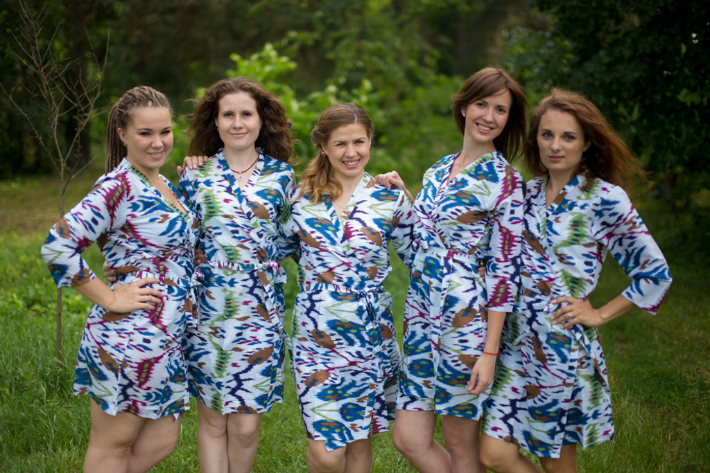 White Blue Ikat Aztec Robes for bridesmaids | Getting Ready Bridal Robes