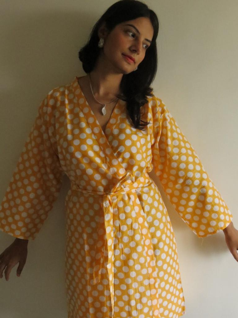 Yellow Polka Dots Robes for bridesmaids   Getting Ready Bridal Robes