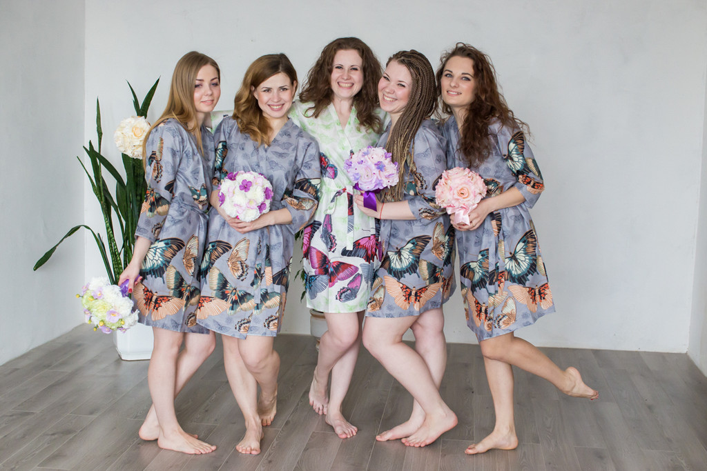 Gray All Over Butterflies Robes for bridesmaids   Getting Ready Bridal Robes