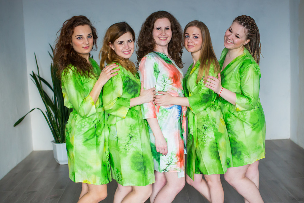 Green Watercolor Splash Robes for bridesmaids   Getting Ready Bridal Robes