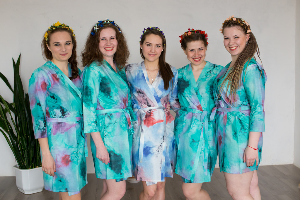 Teal Watercolor Splash Robes for bridesmaids | Getting Ready Bridal Robes