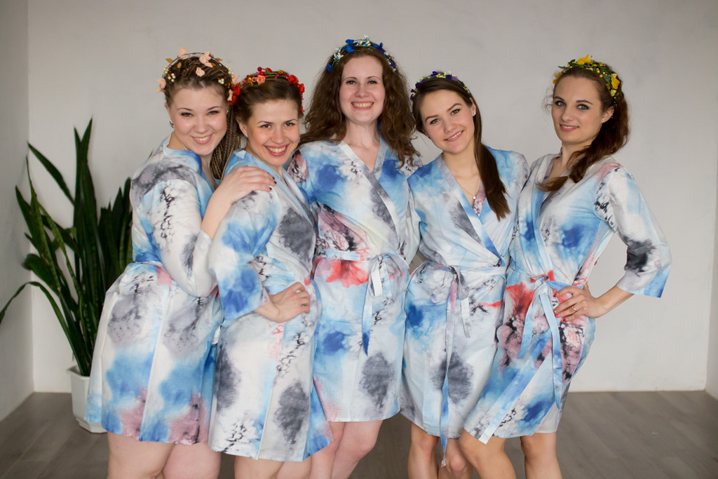 White Blue Watercolor Splash Robes for bridesmaids | Getting Ready Bridal Robes