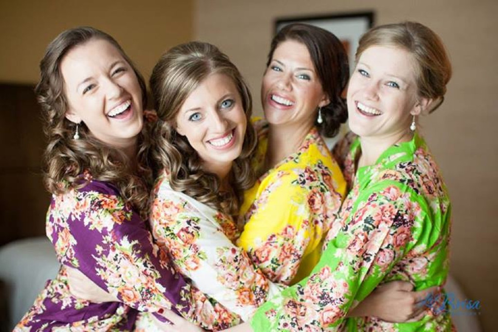 Mismatched Bright Toned Floral Posy Robes