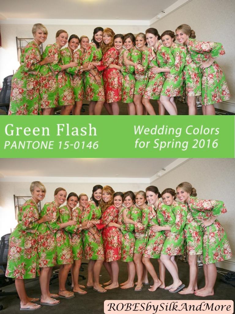 Green Flash Bridesmaids Robes | Pantone Spring 2016 Colors
