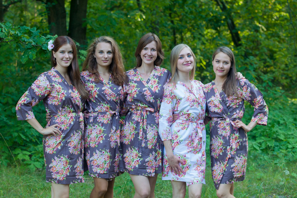 Taupe Brown Floral Posy Robes for bridesmaids   Getting Ready Bridal Robes