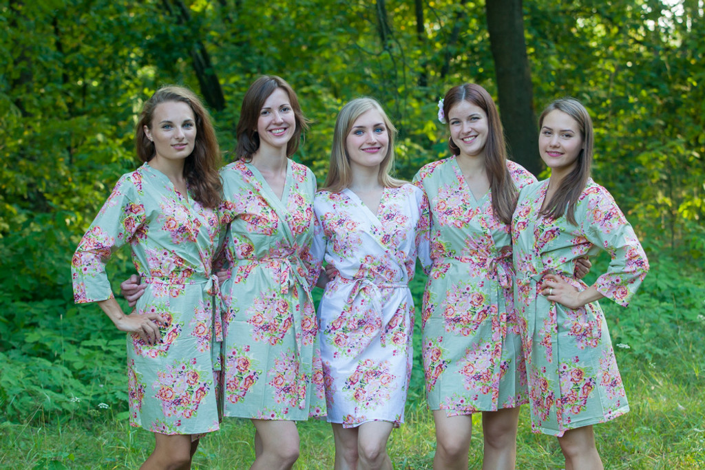 Grayed Jade Floral Posy Robes for bridesmaids | Getting Ready Bridal Robes