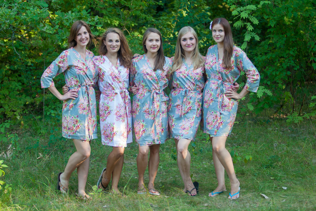 Pewter Green Floral Posy Robes for bridesmaids | Getting Ready Bridal Robes