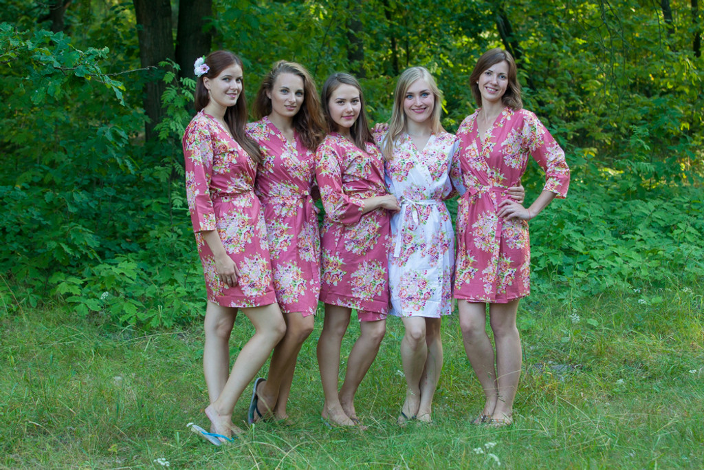 Marsala Dusty Burgundy-Red Floral Posy Robes for bridesmaids