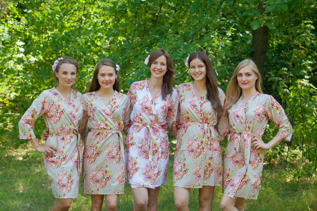 Champagne Floral Posy Robes for bridesmaids | Getting Ready Bridal Robes
