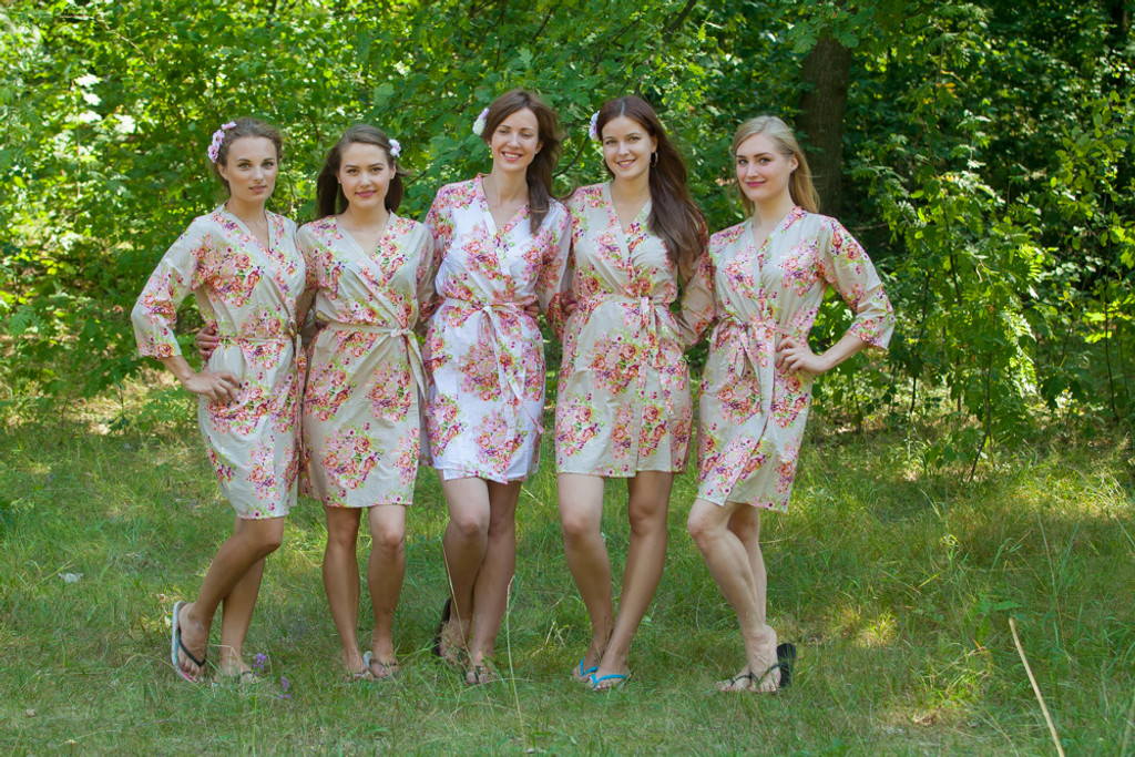 Champagne Nude Floral Posy Robes for bridesmaids | Getting Ready Bridal Robes