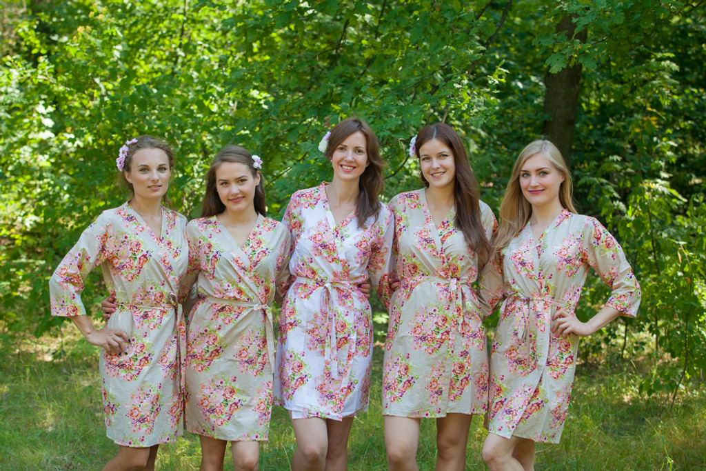 Champagne Neutral Floral Posy Robes for bridesmaids | Getting Ready Bridal Robes