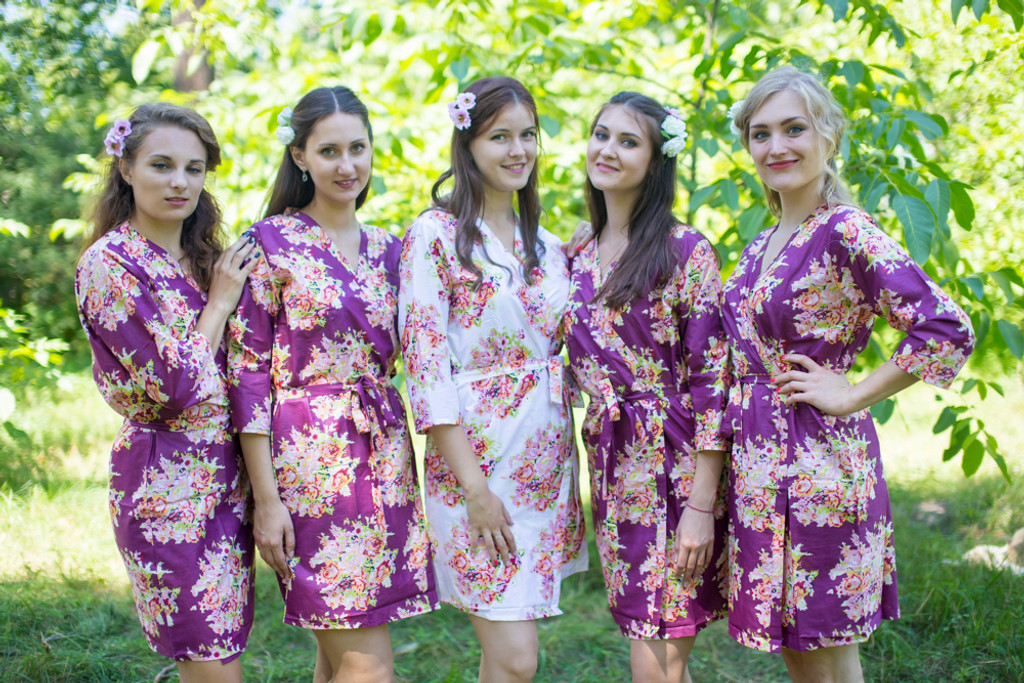 Eggplant Deep Plum Floral Posy Robes for bridesmaids | Getting Ready Bridal Robes