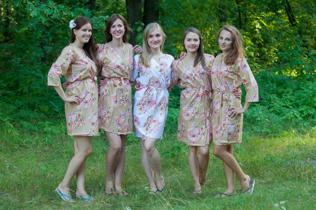 Tan Floral Posy Robes for bridesmaids | Getting Ready Bridal Robes