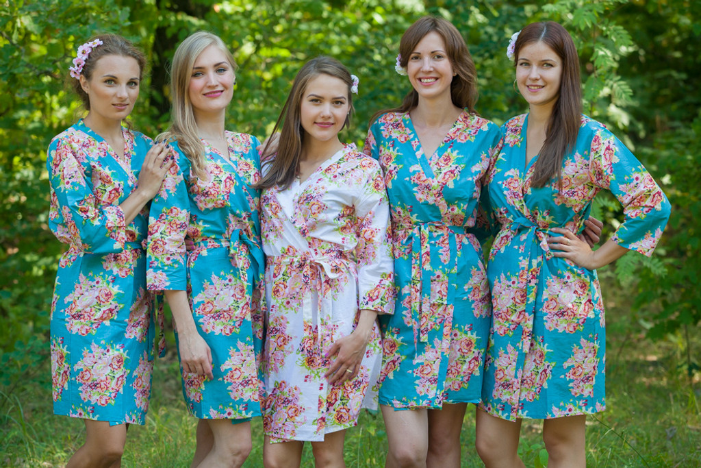 Turquoise Floral Posy Robes for bridesmaids   Getting Ready Bridal Robes