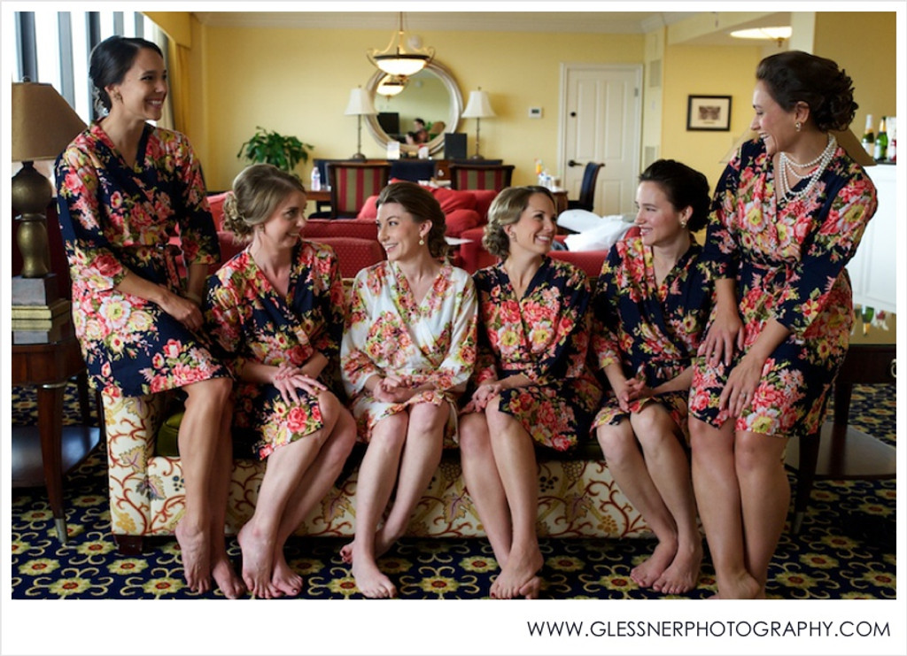 Black Rosy Red Posy Robes for bridesmaids