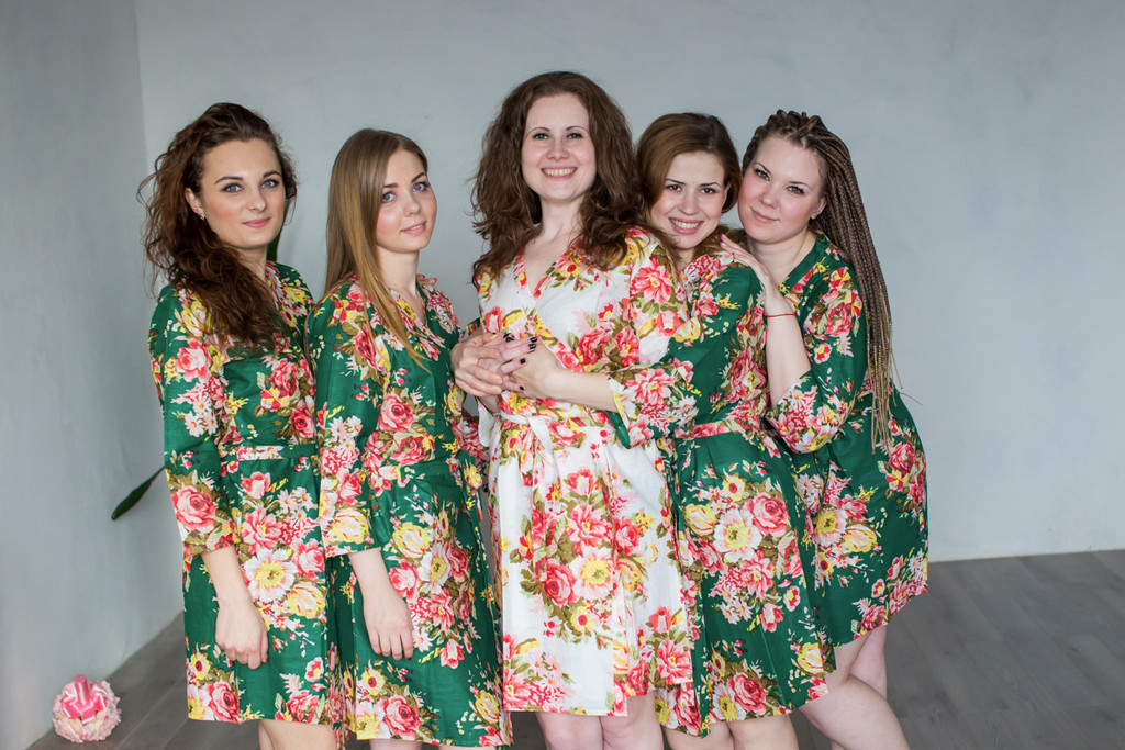Dark Green Rosy Red Posy Robes for bridesmaids