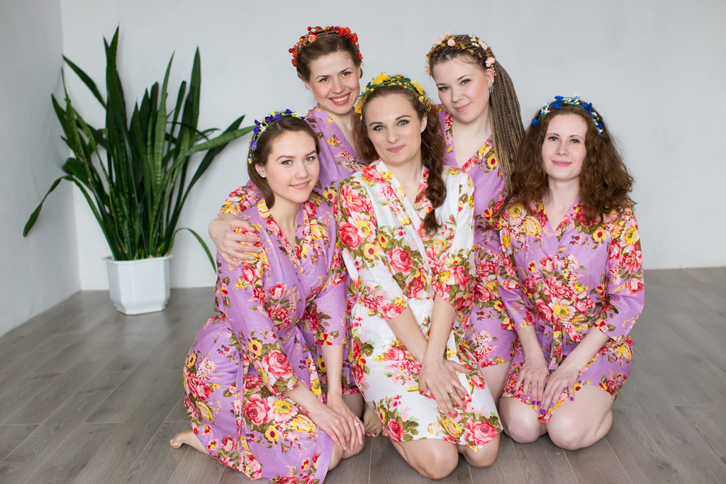 Lavender Rosy Red Posy Robes for bridesmaids