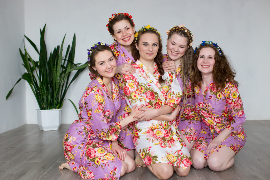 Lilac Rosy Red Posy Robes for bridesmaids
