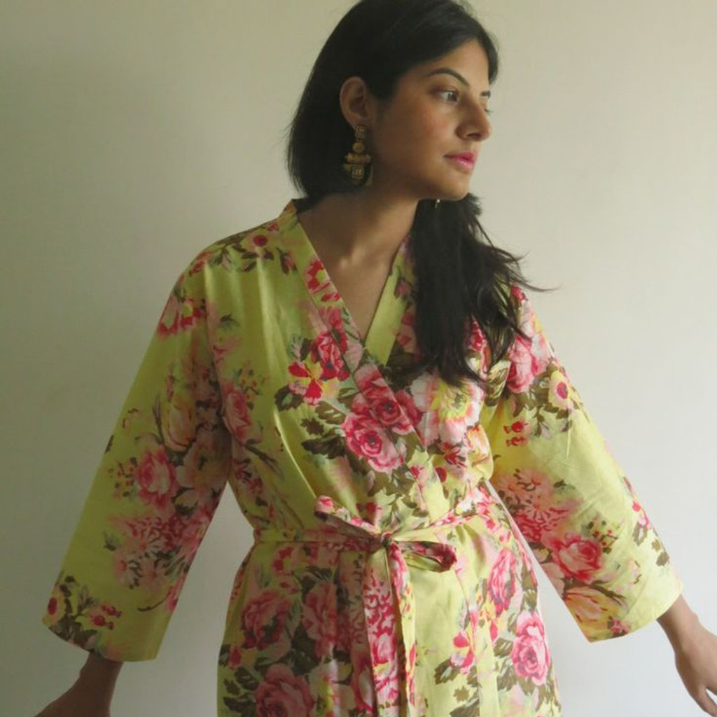 Light Butter Yellow Rosy Red Posy Robes for bridesmaids