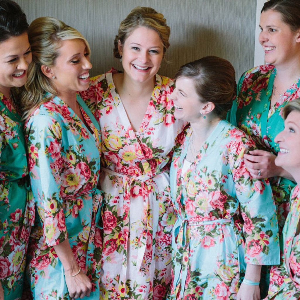 Light Blue Rosy Red Posy Robes for bridesmaids