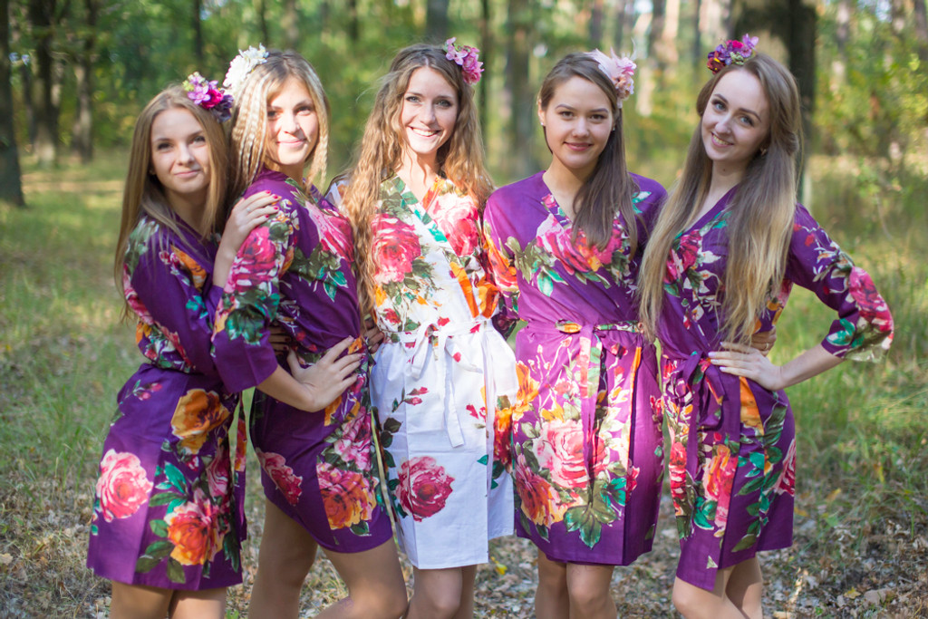Eggplant Large Floral Blossom Robes for bridesmaids | Getting Ready Bridal Robes