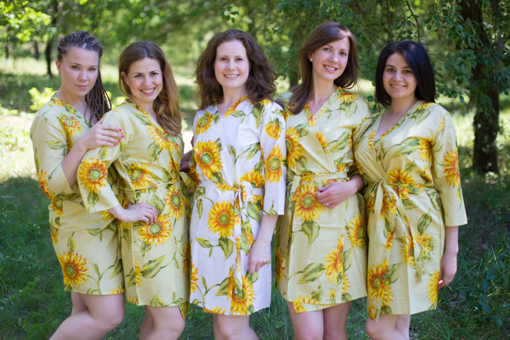 Cream Sunflower Robes for bridesmaids | Getting Ready Bridal Robes