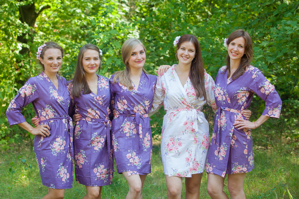 Violet Faded Floral Robes for bridesmaids