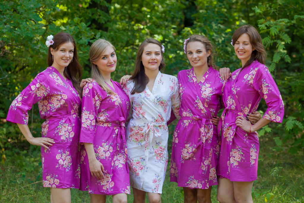 Orchid Pantone Color of the year 2014 Faded Floral Robes for bridesmaids