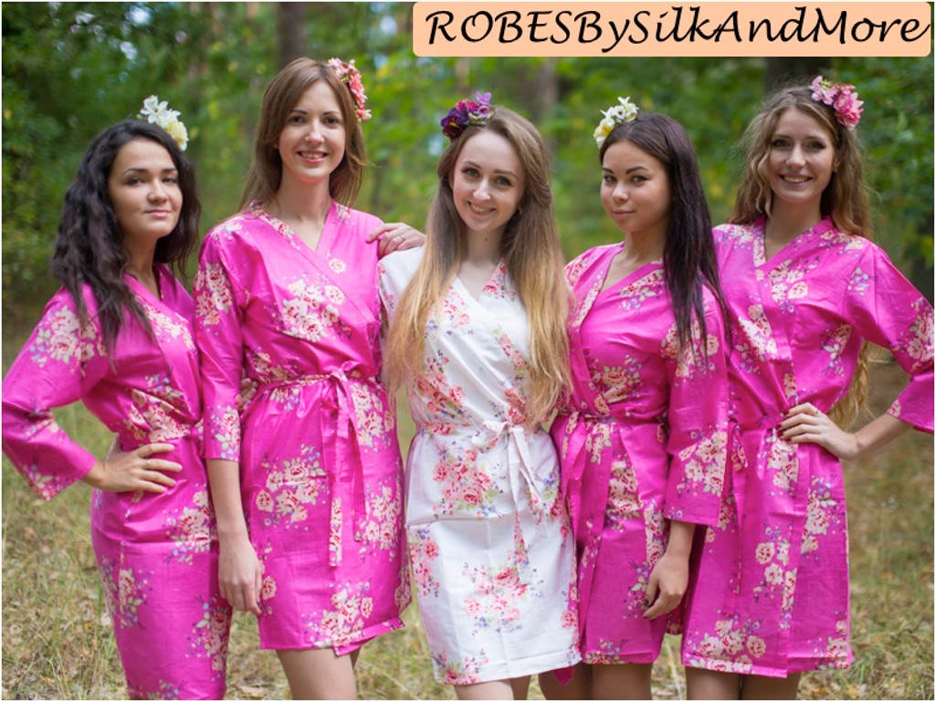 Fuchsia Faded Floral Robes for bridesmaids