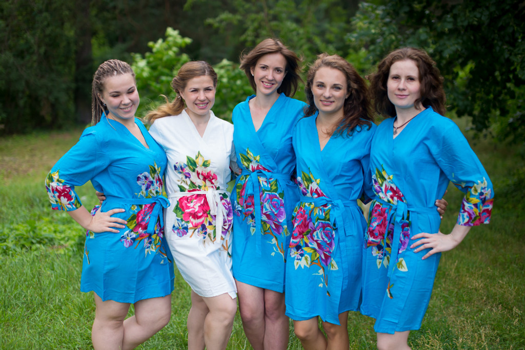 Blue One long flower pattered Robes for bridesmaids | Getting Ready Bridal Robes
