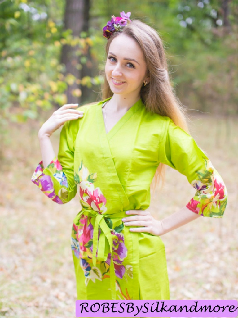 Bright Green One long flower pattered Robes for bridesmaids | Getting Ready Bridal Robes