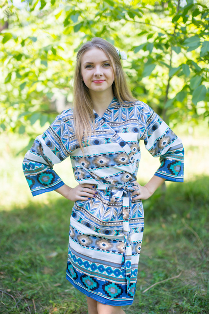 White Blue Aztec Geometric Robes for bridesmaids | Getting Ready Bridal Robes