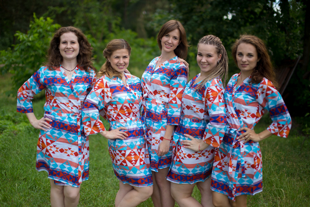 White Blue Red Diamond Aztec Robes for bridesmaids | Getting Ready Bridal Robes