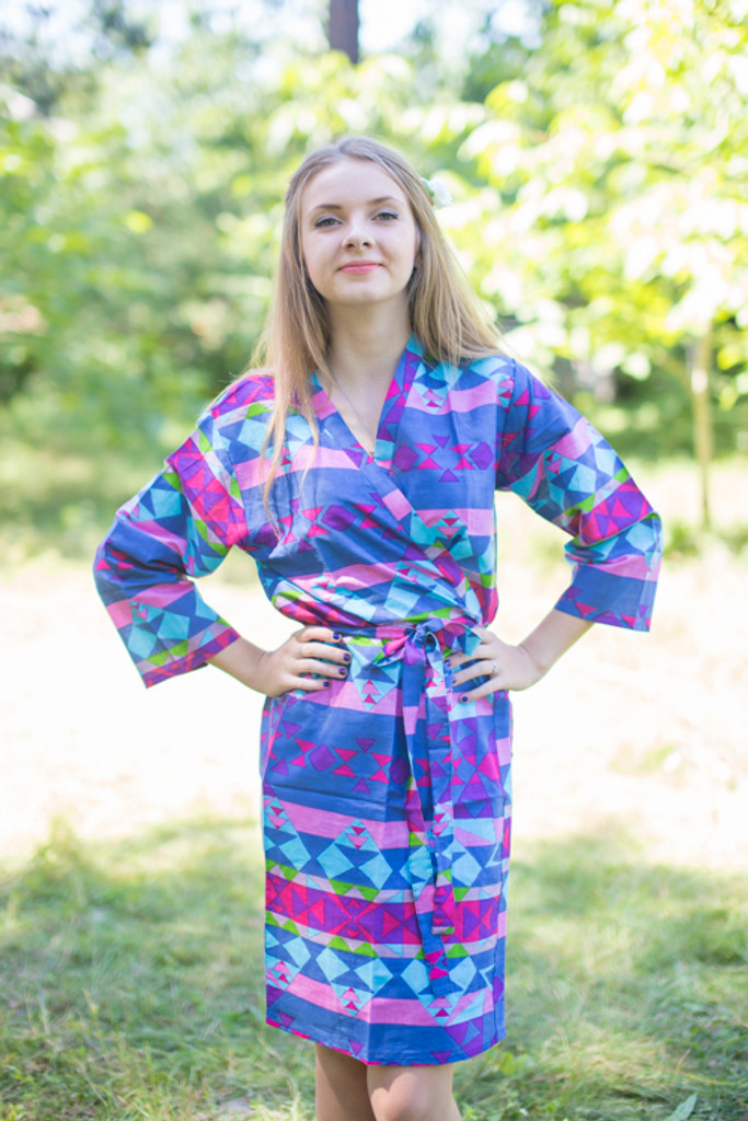 Dark Blue Pink Diamond Aztec Robes for bridesmaids | Getting Ready Bridal Robes