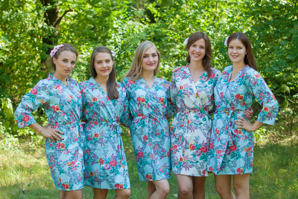 Light Blue Cute Bows pattered Robes for bridesmaids | Getting Ready Bridal Robes