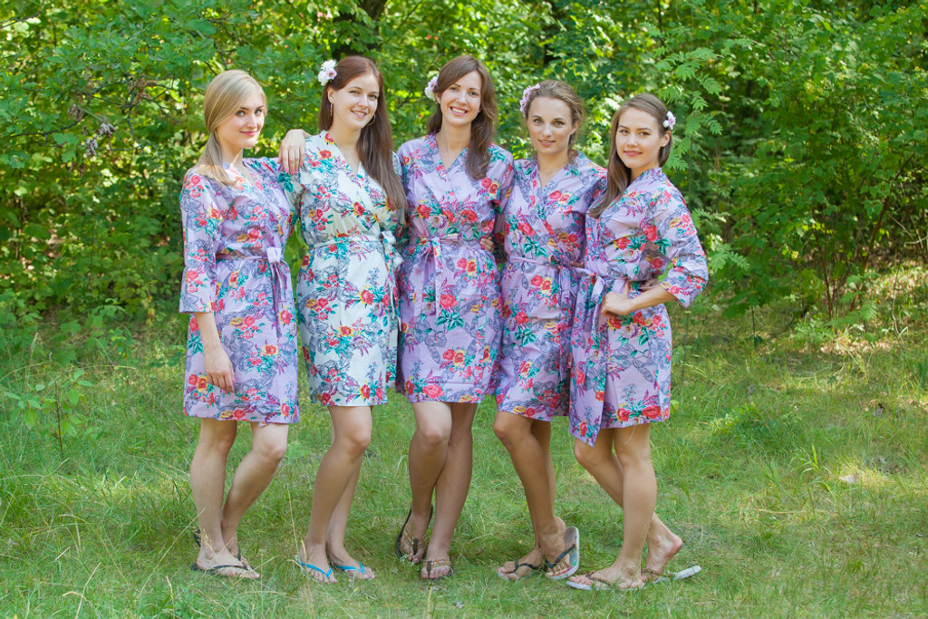 Lilac Cute Bows pattered Robes for bridesmaids | Getting Ready Bridal Robes