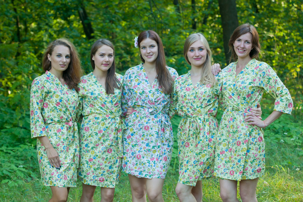 Light Yellow Happy Flowers pattered Robes for bridesmaids | Getting Ready Bridal Robes
