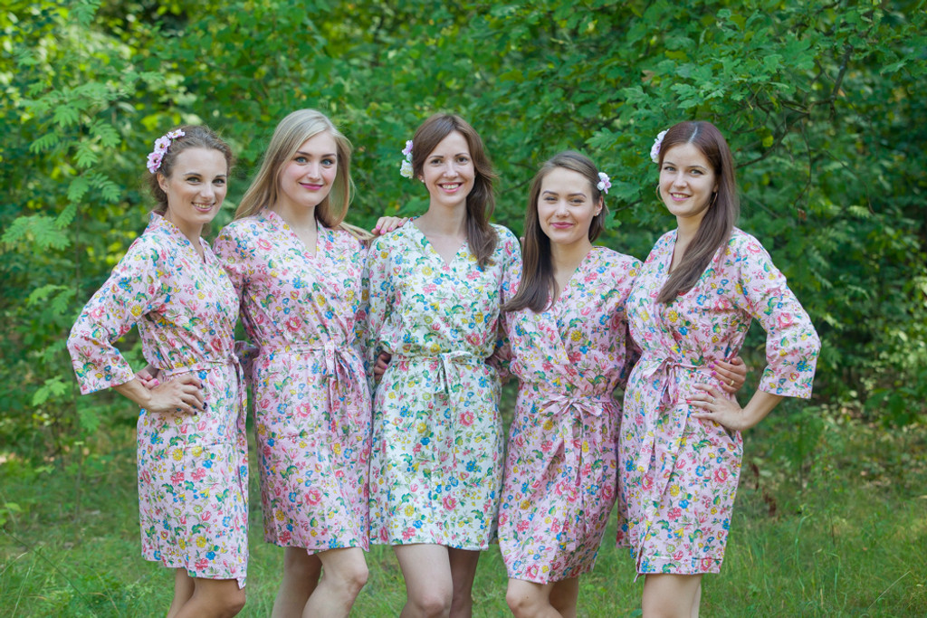 Pink Happy Flowers pattered Robes for bridesmaids   Getting Ready Bridal Robes