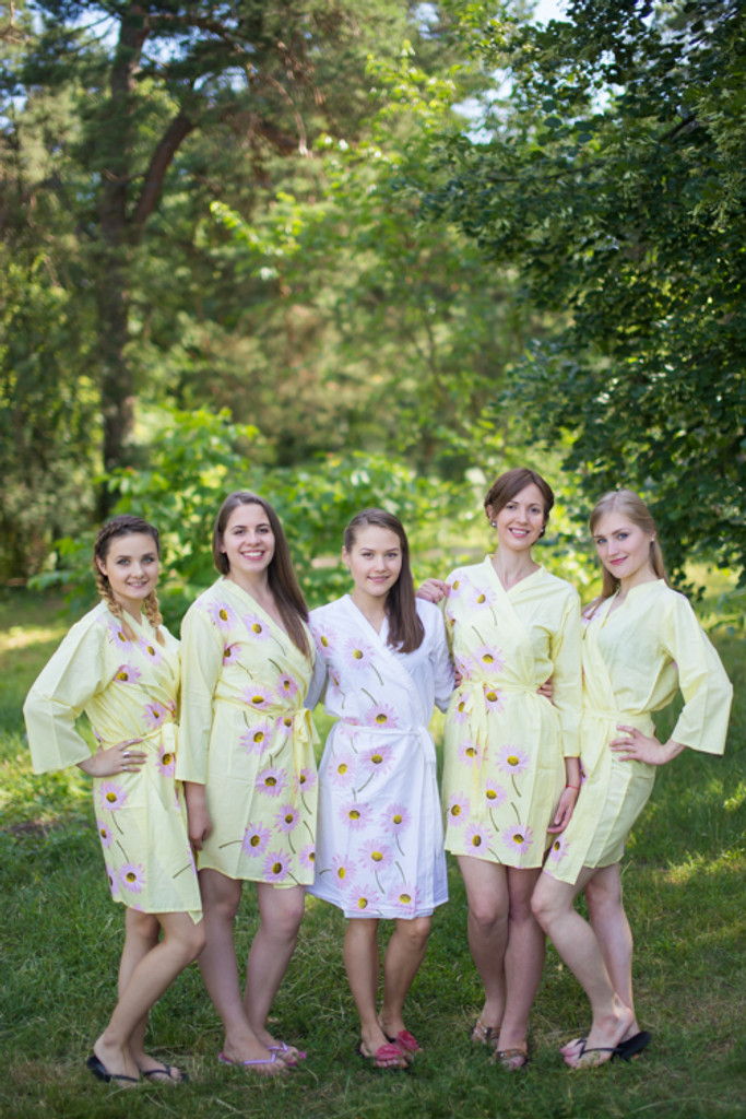 Light Yellow Falling Daisies pattered Robes for bridesmaids | Getting Ready Bridal Robes