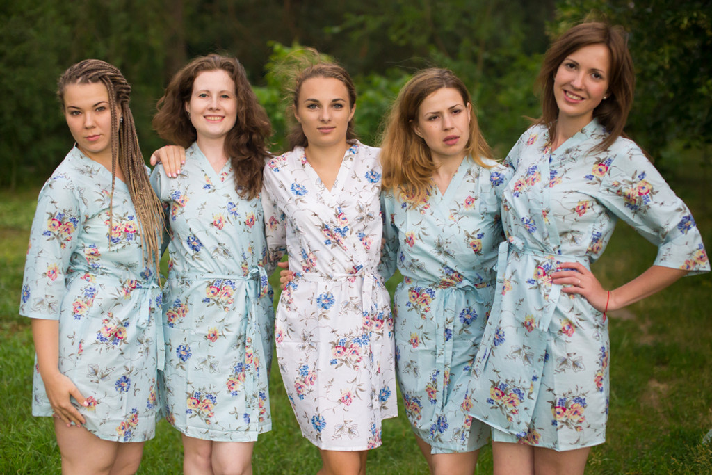 Light Blue Romantic Floral pattered Robes for bridesmaids | Getting Ready Bridal Robes