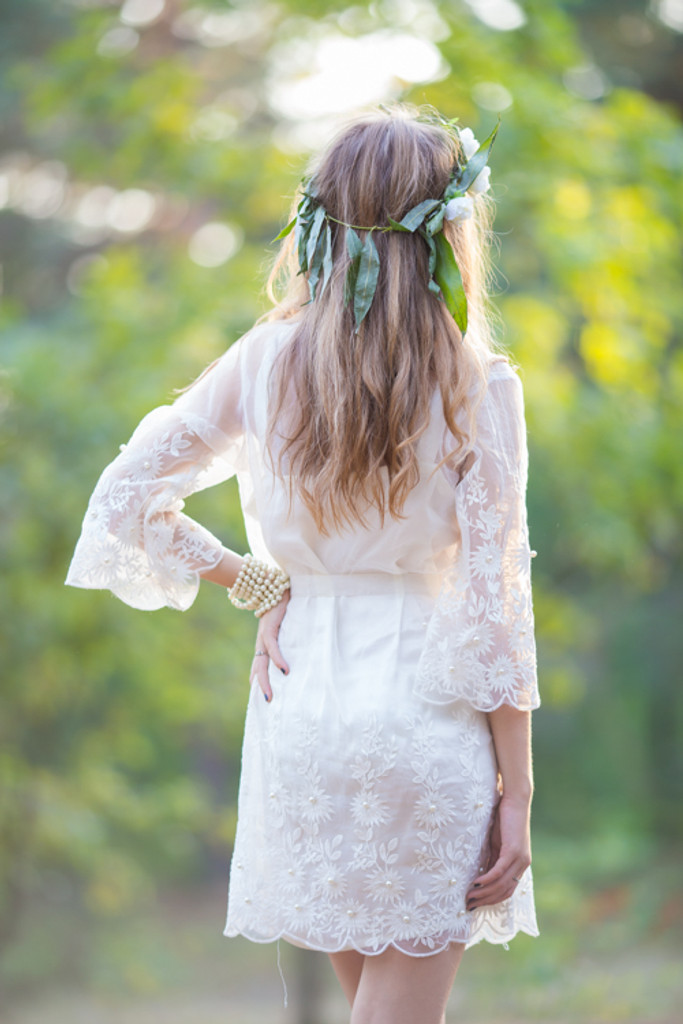 Oh Alma White Floral Pearly Lace Bridal Robe