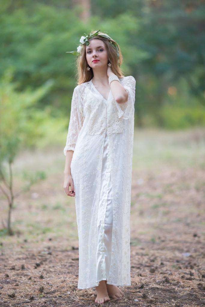 Oh Andrea Ivory Lace Bridal Robe